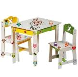 """3 tlg. Set: Sitzgruppe für Kinder - aus sehr stabilen Holz - weiß - """" bunte Eulen """" - Tisch + 2 Stühle / Kindermöbel für Jungen & Mädchen - Kindertisch - Kinderstuhl - Kinderzimmer für circa 1 - 3 Jahre - Kindersitzgruppe - Tischgruppe / Stühlen -"""