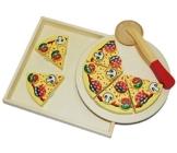 9 tlg. Schneide - PIZZA mit Pizzaschneider - und Tablett HOLZ Spiel Küche Zubehör - Kinderküche Kaufmannsladen Holzpizza - zum Schneiden - Restaurante für Kinder - mit Klettverschluß -