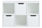 AC Design Furniture 60597 Regal Mariela, 6 Fächer, 3 Stück Schubkasten, Holz, 58 x 39 x 18 cm, weiß -