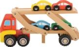 Auto-Transporter mit 4 Auto´s in bunten Farben aus Holz / 29 x 10 x 10 cm / für Kinder ab 12 Monate -
