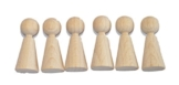 Basteln - Spiel Figuren - Kegel - Buche - ca.3,8/1,6cm - 6stück - (1x1set) -