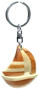 budawi® - Schlüsselanhänger Segelboot aus Holz 55 x 50 mm, Segelboot Schlüssel Anhänger -
