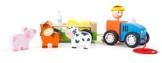 Checklife 905546 Ziehtier Bauer mit Tieren Nachziehspielzeug Bauernhof -