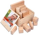 CreaBLOCKS Holzbausteine Baby-Pack (22 Bauklötze unbehandelt) Holzbauklötze für Kleinkinder ab 6 Monate Holzklötze naturbelassen -