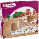 Eichhorn 100001204 - Bahn, Holzschienenbahn mit Brücke, 55-teilig - Streckenlänge: 4,60 Meter - Spielbahn aus Buchenholz -