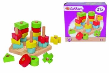 Eichhorn 100002087 - Steckplatte, 21-teilig, holz natur/bunt - 19x17,5x10,5 cm - 5 verschiedene Stecksymbole - -