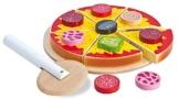 Eichhorn 100003730 - Holz-Pizza zum Belegen - 17 teilig - 19x19x4cm - inklusive Belag und Schneideroller -