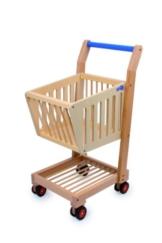 Einkaufswagen aus Holz, tolle Ergänzung zum Kaufmannsladen, mit Gummirollen, Spielspaß für kleine Einkäufer ab 3 Jahre -