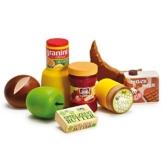Erzi Sortierung Frühstück, Kaufladenzubehörset, Spielset, aus Holz, Maße 12 x 12 x 6 cm, bunt -