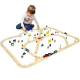 eyepower 96-teiliges Holzeisenbahn Set | Spielzeugeisenbahn über 6 Meter Schienenlänge inkl. Zubehör für eine ganze Stadt | Spielbahn Eisenbahn-Set aus Naturholz für Mädchen und Jungen -