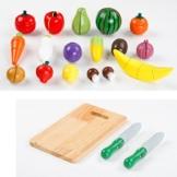 FINER SHOP 20ST hölzerne Obst Gemüse Küche schneiden Toy frühe Entwicklung und Bildung Spielzeug für Baby -