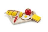 Frühstücksteller Brot Ei Käse zum schneiden Holz -