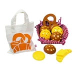 Goki 51704 - Kaufläden und Zubehör - Kaufladen Miniaturen Brötchen, mit Baumwollbeutel und Korb -