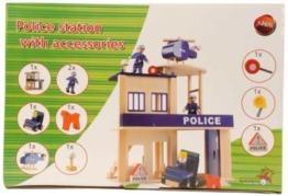 HOLZ Polizeiwache, Polizeistation, Polizei mit Auto Fahrzeug Möbel und Puppen -