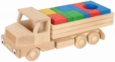 Holzlastwagen mit Bausteinen aus Holz farbig sortiert 33cm x 12cm x 12cm -
