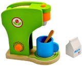 Idena 4100074 - Kleine Küchenmeister Kaffeemaschine aus Holz, 4 teiliges Set, circa 19 x 11 x 20 cm -