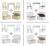 Impag Kindersitzgruppe aus europäischem Kiefer Massivholz 1 Tisch, 2 Stühle, 1 Truhenbank mit Deckelbremse Anni -