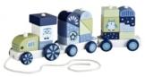 Kids Concept 412982 Nachzieh-Zug mit Holzklötzen Pumpkin blau -
