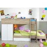 Kinderhochbett mit integriertem Schrank 90x200 Pharao24 -