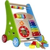Lauflerner ~Activity Walker ~ Baby Walker aus Holz mit Xylophon und Holzsteckspiel -