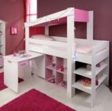 Mädchen Kinderzimmer-Hochbett 90x200 mit Schreibtisch Weiss Pink Parisot -