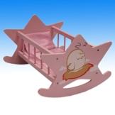 MEGAPROM - Puppenbett Puppenwiege Schaukelbett Puppenmöbel Holzbett Spielzeug inkl. Bettwäsche -