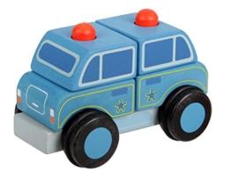 Mentari Baby Motorik Polizeiauto aus Holz mit 4 Bausteinen -