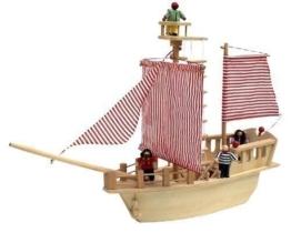 Piratenschiff aus Holz inkl. Piraten-Crew + kleiner Schatztruhe / Maße: 85 x 22 x 71 cm / Gewicht: 2,7 kg / für Kinder ab 3 Jahren geeignet -