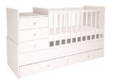 Polini Kids Polini Kids mitwachsendes Bett Kombi-Kinderbett Simple 1000 mit Kommode weiß, 1226.9 -