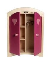 Puppenkleiderschrank inkl. 5 Kleiderbügeln / Material: Holz / Farbe: natur/rosa / Maße: 44,5 x 21,5 x 61 cm / Gewicht: 8,1 kg -