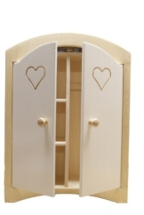 Puppenkleiderschrank inkl. 5 Kleiderbügeln / Material: Holz / Farbe: natur/weiss / Maße: 44,5 x 21,5 x 61 cm / Gewicht: 8,1 kg -