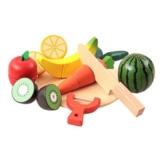 ROSENICE Spiel-Lebensmittel Küchenspielzeug Set Holztablett mit Holzobst Gemüse Schneideset -