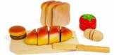 Schneidespielzeug aus Holz, 5 verschiedene Lebensmittel zum Zerteilen und Zusammenfügen, inkl. kleinem Brettchen, Tablett und Messer -