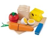 Selecta Spielzeug 1548 - Picknick, Set aus Holz zum schneiden üben und Sandwich bauen -