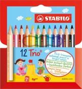 STABILO Trio dick 12er Kartonetui kurz - Dreikant-Buntstift -