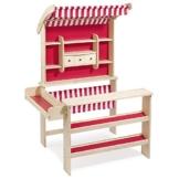 super Kaufladen aus Holz von howa natur / rot mit Markise -