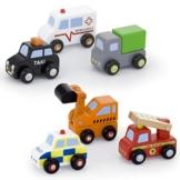 Vortigern - V51022 - 6 Fahrzeuge aus Holz - Bagger, Krankenwagen, Polizeiauto, Feuerwehrwagen, Taxi, LKW -