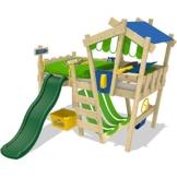 WICKEY Kinderbett CrAzY Hutty Hochbett Abenteuerbett inkl. Lattenboden - Blau-Apfelgrün + grüne Rutsche -