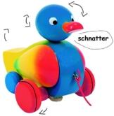 """Ziehtier - """" lustige Ente in bunt """" - aus Holz / Wackeltier - Flügel & Kopf wackelt - flüsterleise - mit Schnur - Ziehfigur als Nachziehtier - Tier Holzfigur - zum Hinterherziehen - Nachziehtiere / Nachziehspielzeug - hinterherzieh Tiere -"""